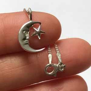 Jewelry - Sterling Silver Moon and Star Necklace